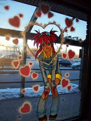 """Stained Glass"" anime girl. (Steve Brandon) Tags: winter sun sunlight snow ontario canada anime window girl shop retail hearts geotagged store parkinglot magasin painted hiver ottawa suburb neige backlit nepean schoolgirl japanimation valentinesday stationnement  kogal japaneseanimation freeadvertising  japanesecartoons merivaleroad merivalerd bleekermall animestop ruemerivale thecomicbookshoppe animestore clydeavenue clydeave avenueclyde"