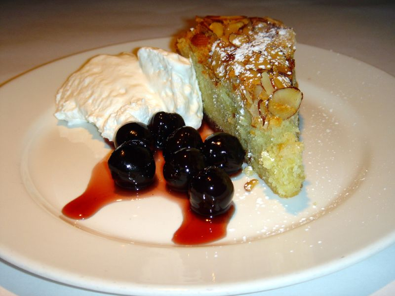 Almond Cake with Cherries and Whipped Cream