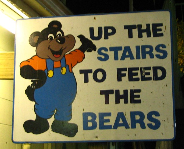 Up the stairs to feed the bears