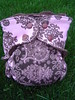 MEDIUM LONG Pink & Chocolate Paisley Knit/Velour Fitted Diaper  <br>with Flap-style Quick Dry Soaker