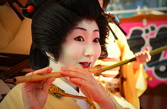 the musical geisha (jessleecuizon) Tags: red white face yellow japan catchycolors temple sensoji tokyo golden dance amazing hands play dragon expression performance hairdo flute lips geisha kimono asakusa facial gentle kinryunomai nikond80 travelerphotos