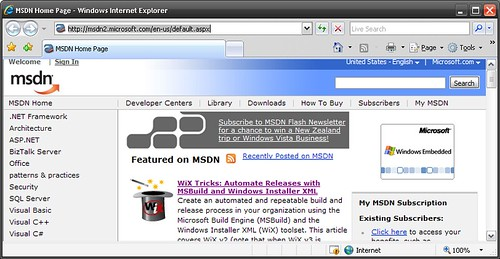 WiX toolset on MSDN homepage