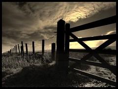 (andrewlee1967) Tags: bravo abigfave yorkshire gate fence andrewlee1967 uk aplusphoto canon400d moors england sky cloud blackandwhite sepia landscape mono bw monochrome saddleworth focusman5 lancashire andrewlee