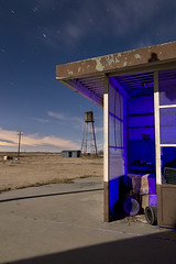 Check Yer Oil? (Lost America) Tags: longexposure lightpainting night desert gasstation fullmoon timeexposure mojave ghosttown generalstore startrails lockhart