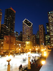 Ice Skaters At Millennium Park w/ Smurfit-Stone Building