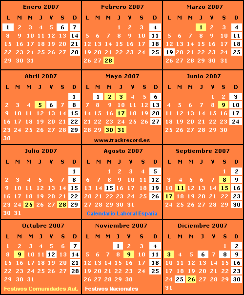 Calendario Laboral España 2007