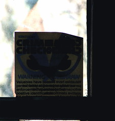 Security Sticker  (mightyquinninwky) Tags: sticker kentucky security hallway lexingtonky 1980s frontdoor chevychase fontaineroad centralkentucky