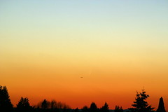Comet McNaught, a Sunset and an Airplane