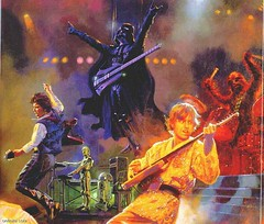 Someone painted this picture of Star Wars characters in a band.