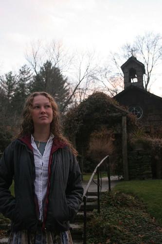 Carla Mullis in front of Church taken by Kent Kessinger
