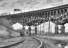 Pulaski Skyway (nicoatridge) Tags: bridge bw usa newjersey tracks nj meadowlands hdr skyway pulaski kearny hudsoncounty pulaskiskyway industrialwasteland firstonflickr nicoatridge first200loaded