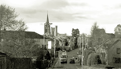 Invergowrie1 (macieklew) Tags: street houses sky blackandwhite white black church colors monochrome buildings scotland town colorful dundee angus country perthshire duotone tayside invergowrie olympusc310zoom diamondclassphotographer