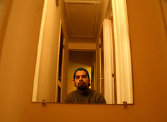 this is me (hekter) Tags: blue house selfportrait reflection yellow mirror doors sad attic stressed indebt
