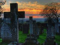The grave next to Margaret Rose's (Jonnyfez) Tags: winter sunset red church grave rural landscape derbyshire tombstone churchyard hdr cenetery 25faves abigfave suttononthehill