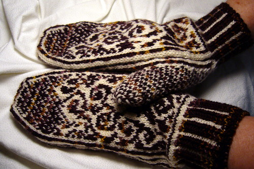 Finished Mittens - On Hands