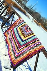 The Uglee Granny (Jaye65) Tags: winter snow giant crochet yarn blanket afghan blankets crafty granny fo kingsize grannysquare afghans giantgrannysquare largegrannysquare