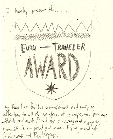 Euro Traveler Award from friend