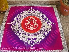 Ganpathi Rangoli Designs with sand (blacksapphire) Tags: pink flowers wedding red india interesting sand colorful purple south madras celebration designs hindu chennai tamil shadi rangoli saris shadhi maharashtrian ganpathi