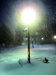 Meet me at the Corner (Candid Cameron) Tags: light snow night streetlamp snowstorm stpaul stpaulminnesota concordiauniversitystpaul