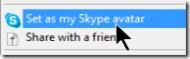 avatar setting in skype toolbar