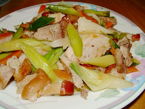 roast pork with leeks