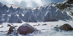 Basecamp in Tibet (xtremepeaks) Tags: winter camp mountain snow mountains color deleteme ice horizontal landscape fun photography freedom climb image action deleteme10 north tibet glacier adventure achievement getty motivation effort climber exploration endurance success himalayas pinnacles determination teamwork seracs penitentes thesource serac shishapangma xtremepeaks