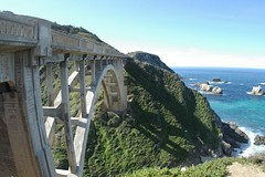 A Bridge To Water (cwgoodroe) Tags: ocean california bridge blue sea green beach grass sunshine northerncalifornia stone digital lens relax bay monterey moss spring sand san francisco rocks surf day waves pentax crystal salt lion bluewater bridges sunny sealife cliffs fisheye area carmel seals romantic sealion northern relaxed ist otters saltwater hotday pentaxist stonebridge alge crystalblue