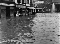 Flooding in Station Road by Redhill Station, 1951
