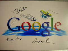 Google's Special Logo celebrating SpaceShipOne winning the X-Prize, Signed by Larry Page & Sergey Brin