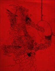 Gesture on paper (Liu Maus) Tags: blue red azul pen ink paper word notes drawing vermelho block agenda desenho drago caligraphic