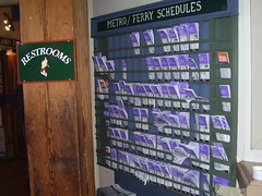 Rack of transit schedule information, Pike Place Market
