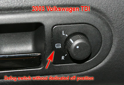 2003 TDI Defog switch