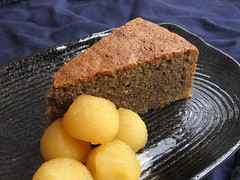Buckwheat Cake with Cider Poached Apples