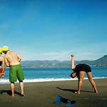stretching on china beach