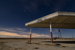 Sodium Clouds (Lost America) Tags: night desert watertower gasstation fullmoon timeexposure mojave canopy lockhart