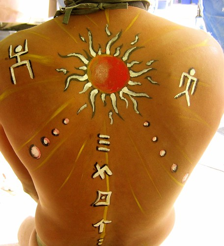 Back Pose Henna Body Painting