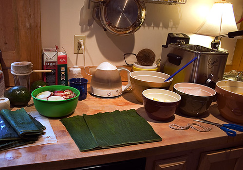 Christmas Eve Tamales - The set-up for assembly