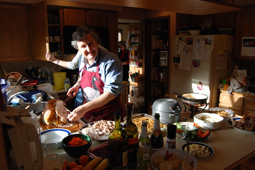 Full Turkey Dinner being prepared in our tiny kitchen