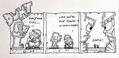 thud comic of a dwarf and a troll asking if they are just pawns in a game