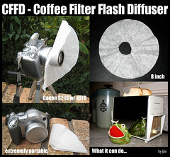 Coffee Filter Flash Diffuser (jciv) Tags: camera macro coffee closeup interestingness portable flash explore filter tip setup hack supermacro diffuser cheep canons2is lowcost i500 ccrrfd cffd