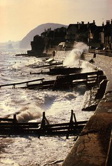 Seaton (~J0~ (away)) Tags: sea england film seaside waves devon analogue splash seaton groynes groins seasidetown