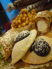 Various treats from the Antica Dolceria Bonajuto, Modica (Boots in the Oven) Tags: italy dessert europe italia cookie chocolate cream sugar pastry sweets sicily sicilia cannoli calzone modica empanada dolceria bonajuto mpanatigghi