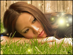 Steph 02 - Fairies (tishay) Tags: portrait woman girl grass female photoshop fence photography graphicdesign glow adobephotoshop steph explore fairy fantasy portraiture portfolio fairies graphicarts digitalimaging digitalarts femaleportrait fujifilmfinepixs5100 flickrsexplore challengeyouwinner photofaceoffwinner pfogold