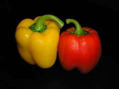 Two friends (macieklew) Tags: red food color colors vegetables yellow pepper healthy colorful vegetable peppers veg redpepper yellowpepper zielony vitamins jedzenie sweetpepper kolory kolor czerwony zielona czerwona kolorowe warzywa warzywo zdrowie papryka olympusc310zoom diamondclassphotographer papryki witaminy zdrowy zdrowe