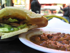 Oasis Café, Moussaka pita and Foul (fava beans).jpg