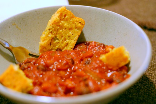 three-bean chili, cheddar-jalapeno cornbread