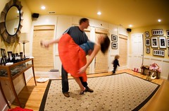 the forbidden dance (-Angela) Tags: longexposure motion me dancing fisheye 2550fav angela dip foyer thehusband