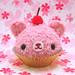 Amigurumi fuzzy pink cupcake bear