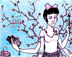 crissy (MATT MIMS) Tags: pink blue birds cherry paint drawing chocolate blossoms bow cherryblossoms crissy mims
