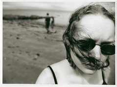 big lise at North Berwick beach (gorbot.) Tags: blackandwhite bw beach scotland scan 35mmfilm northberwick fibrebasedprint canoneos300slr